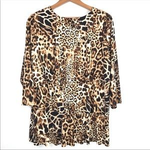 Susan Graver Tops - Susan Graver Ruffled Animal Print Blouse M